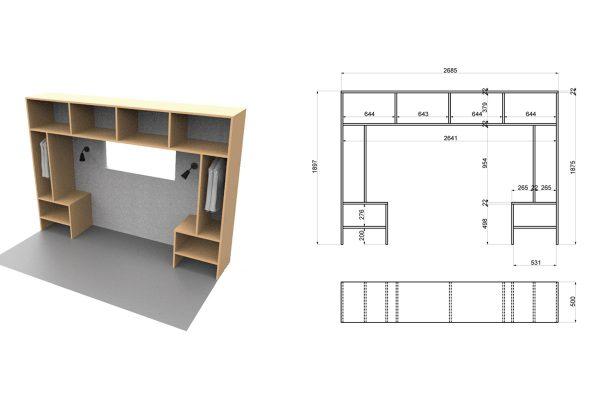 ainsi le placard de la chambre fait le tour du lit et intgre de part et duautre une penderie et un chevet la cuisine est elle prolonge par un meuble with